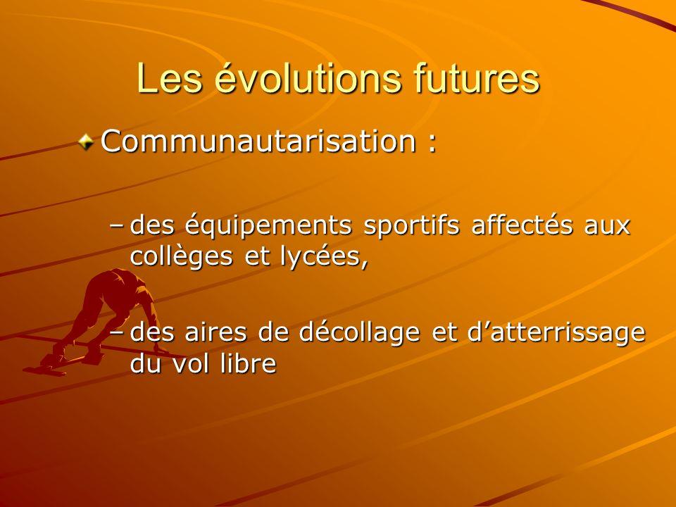 Les évolutions futures Communautarisation : –des équipements sportifs affectés aux collèges et lycées, –des aires de décollage et datterrissage du vol