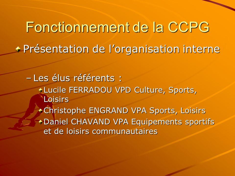 Fonctionnement de la CCPG Présentation de lorganisation interne –Les élus référents : Lucile FERRADOU VPD Culture, Sports, Loisirs Christophe ENGRAND