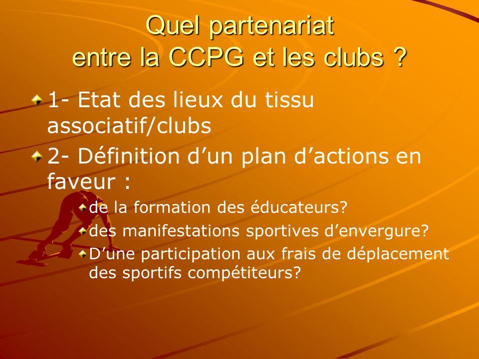 Quel partenariat entre la CCPG et les clubs ? 1- Etat des lieux du tissu associatif/clubs 2- Définition dun plan dactions en faveur : de la formation
