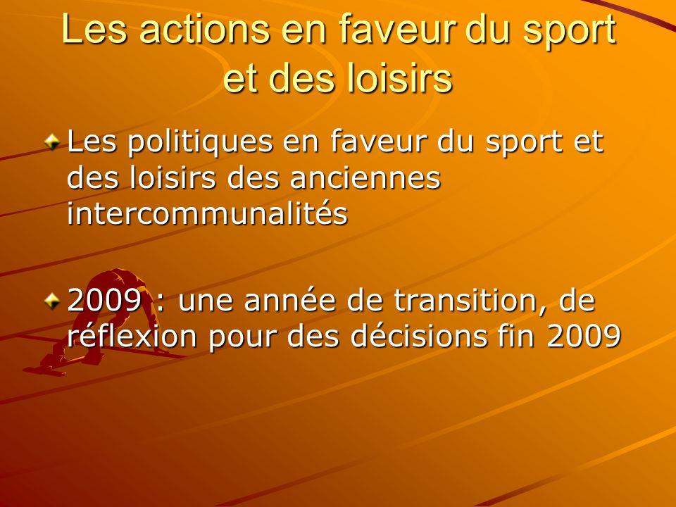 Les actions en faveur du sport et des loisirs Les politiques en faveur du sport et des loisirs des anciennes intercommunalités 2009 : une année de tra