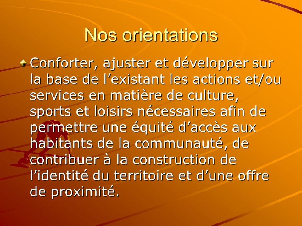 Nos orientations Conforter, ajuster et développer sur la base de lexistant les actions et/ou services en matière de culture, sports et loisirs nécessa