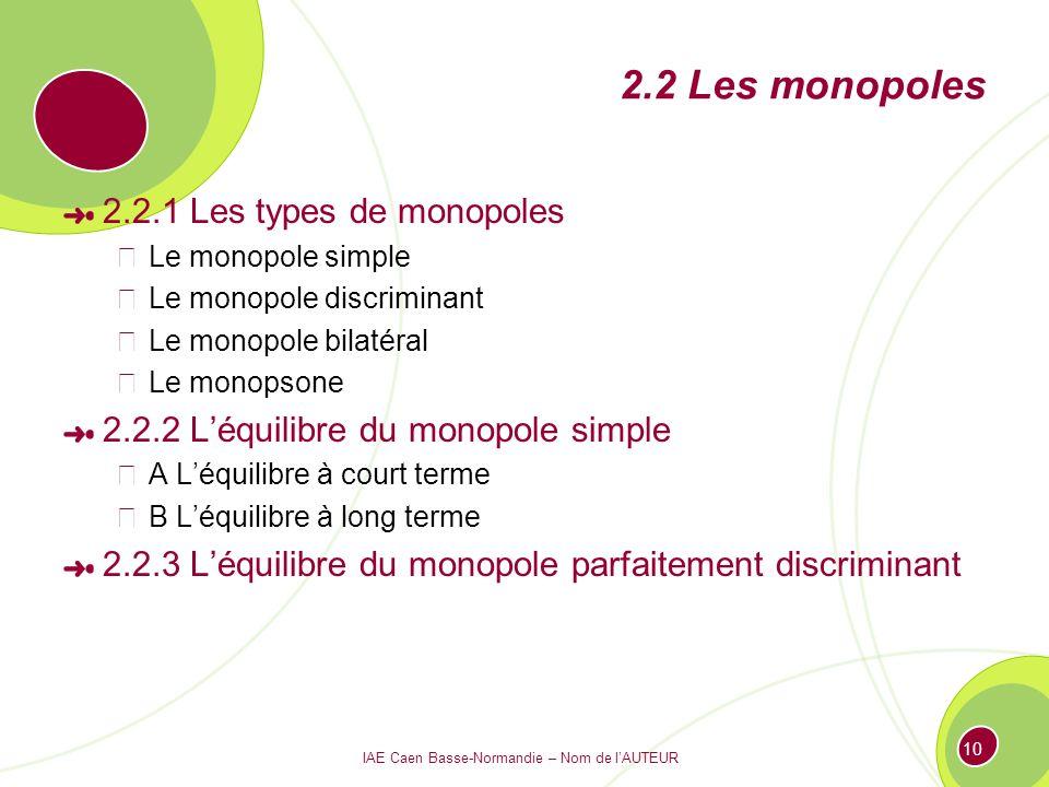 IAE Caen Basse-Normandie – Nom de lAUTEUR 10 2.2 Les monopoles 2.2.1 Les types de monopoles Le monopole simple Le monopole discriminant Le monopole bi