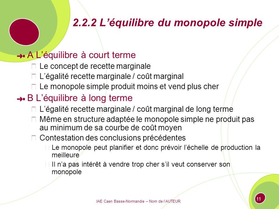 IAE Caen Basse-Normandie – Nom de lAUTEUR 11 2.2.2 Léquilibre du monopole simple A Léquilibre à court terme Le concept de recette marginale Légalité r