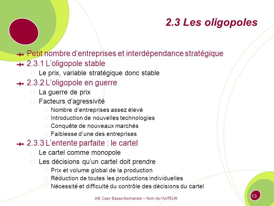 IAE Caen Basse-Normandie – Nom de lAUTEUR 13 2.3 Les oligopoles Petit nombre dentreprises et interdépendance stratégique 2.3.1 Loligopole stable Le pr