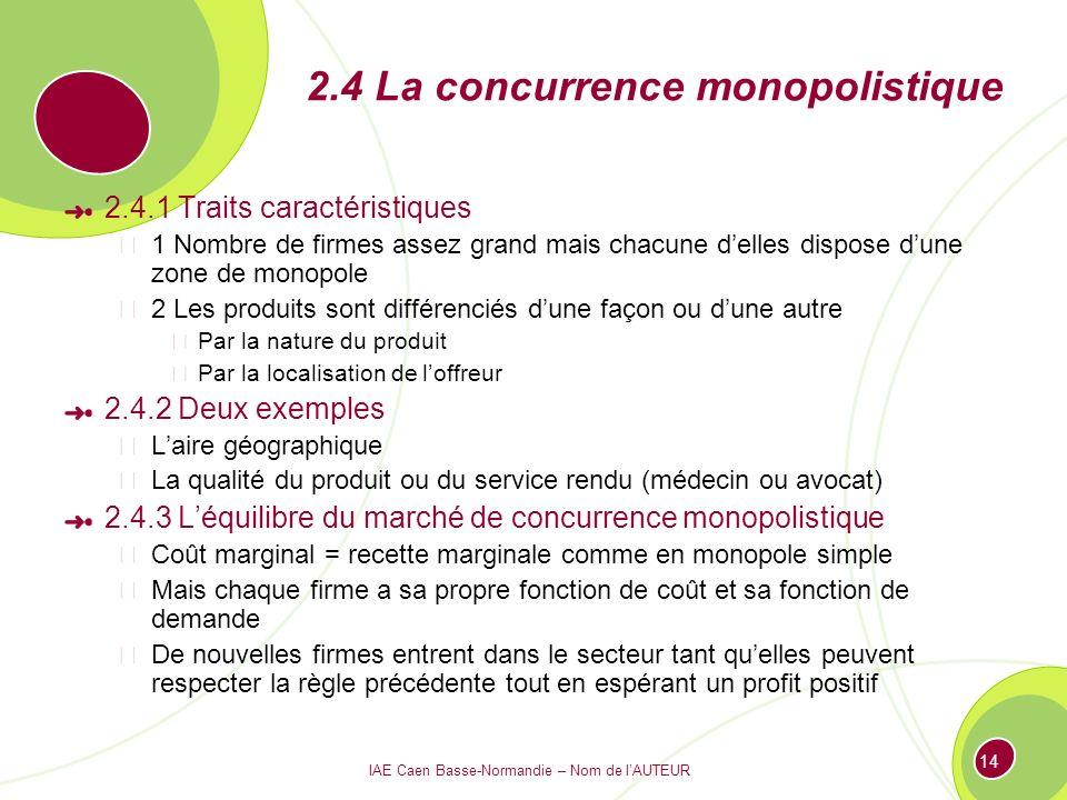 IAE Caen Basse-Normandie – Nom de lAUTEUR 14 2.4 La concurrence monopolistique 2.4.1 Traits caractéristiques 1 Nombre de firmes assez grand mais chacu