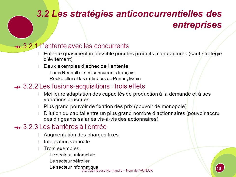 IAE Caen Basse-Normandie – Nom de lAUTEUR 16 3.2 Les stratégies anticoncurrentielles des entreprises 3.2.1 Lentente avec les concurrents Entente quasi