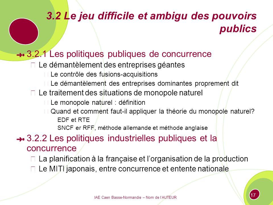 IAE Caen Basse-Normandie – Nom de lAUTEUR 17 3.2 Le jeu difficile et ambigu des pouvoirs publics 3.2.1 Les politiques publiques de concurrence Le déma