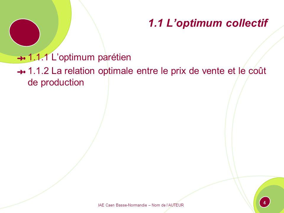 IAE Caen Basse-Normandie – Nom de lAUTEUR 4 1.1 Loptimum collectif 1.1.1 Loptimum parétien 1.1.2 La relation optimale entre le prix de vente et le coû