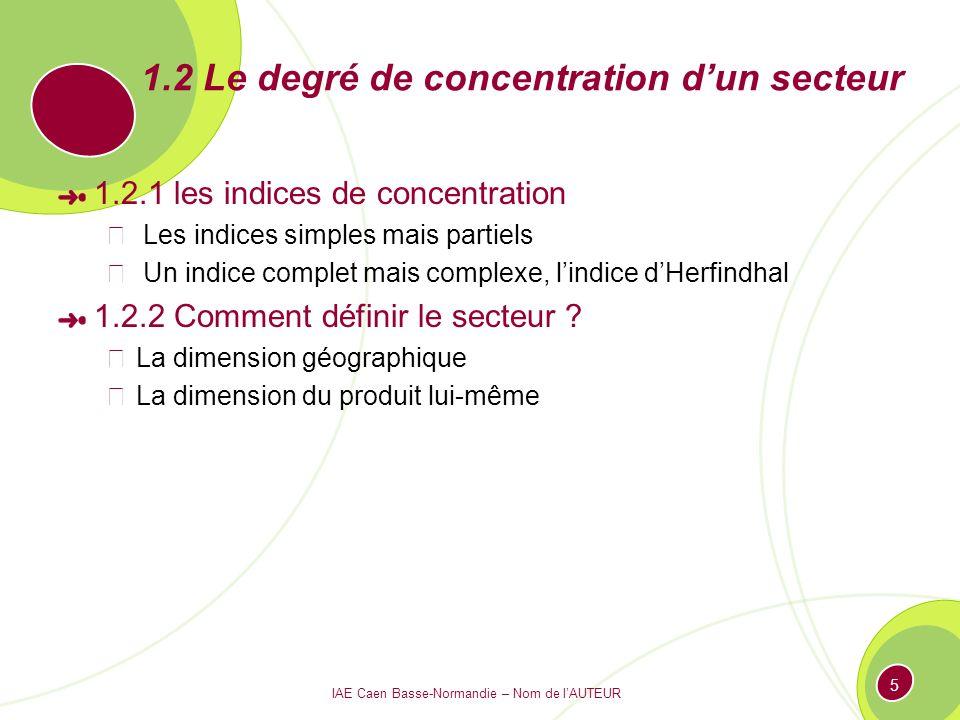 IAE Caen Basse-Normandie – Nom de lAUTEUR 5 1.2 Le degré de concentration dun secteur 1.2.1 les indices de concentration Les indices simples mais part