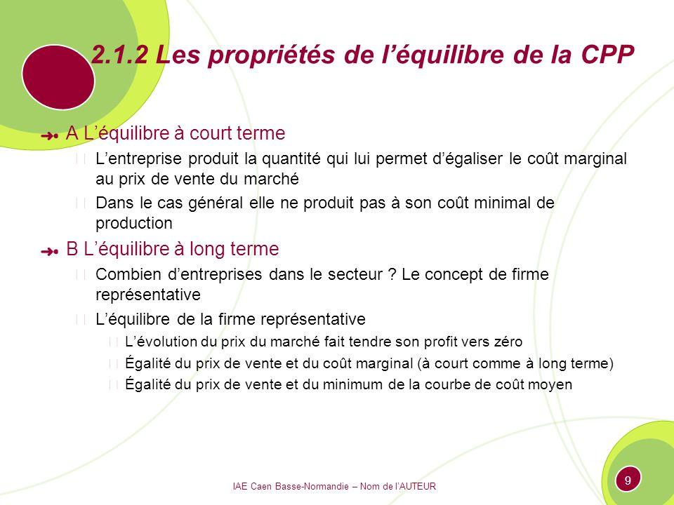 IAE Caen Basse-Normandie – Nom de lAUTEUR 9 2.1.2 Les propriétés de léquilibre de la CPP A Léquilibre à court terme Lentreprise produit la quantité qu