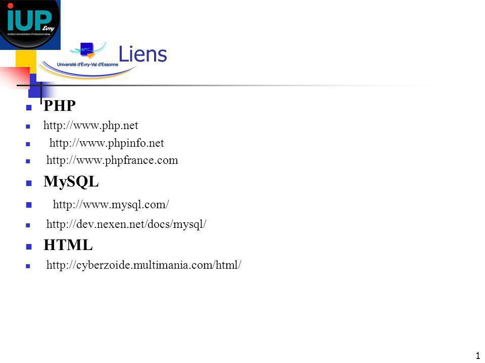 1 Liens PHP http://www.php.net http://www.phpinfo.net http://www.phpfrance.com MySQL http://www.mysql.com/ http://dev.nexen.net/docs/mysql/ HTML http: