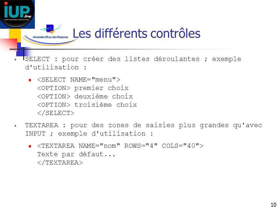 10 Les différents contrôles SELECT : pour créer des listes déroulantes ; exemple d'utilisation : premier choix deuxième choix troisième choix TEXTAREA