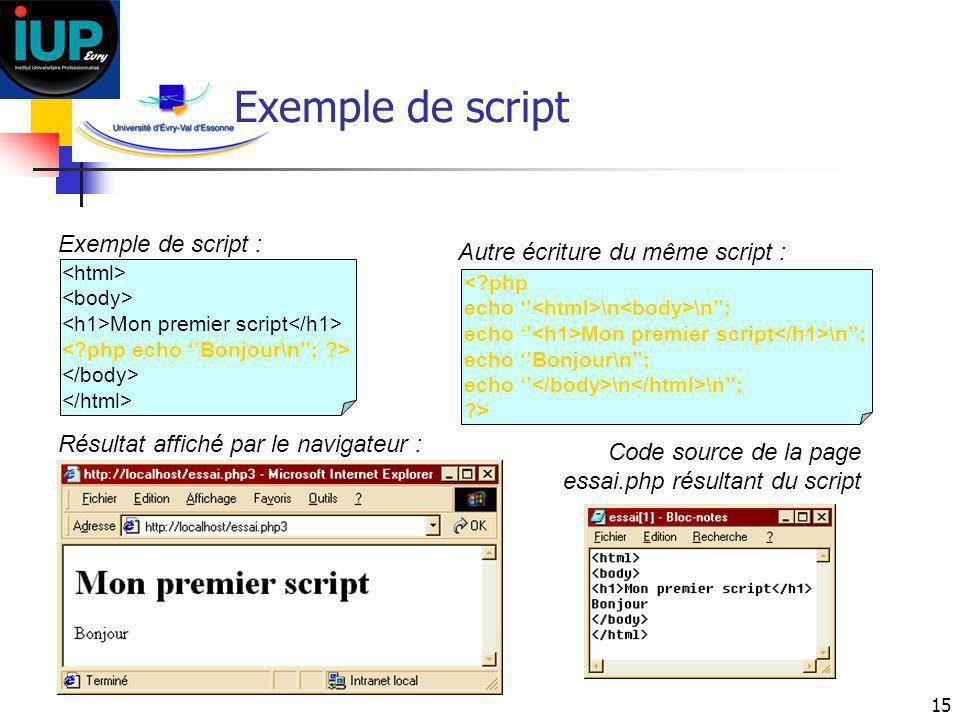 15 Exemple de script Mon premier script Exemple de script : <?php echo \n \n; echo Mon premier script \n; echo Bonjour\n; echo \n \n; ?> Autre écritur