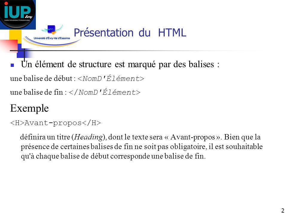 2 Présentation du HTML Un élément de structure est marqué par des balises : une balise de début : une balise de fin : Exemple Avant-propos définira un
