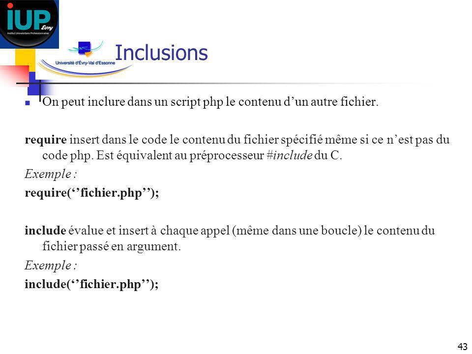 43 Inclusions On peut inclure dans un script php le contenu dun autre fichier. require insert dans le code le contenu du fichier spécifié même si ce n