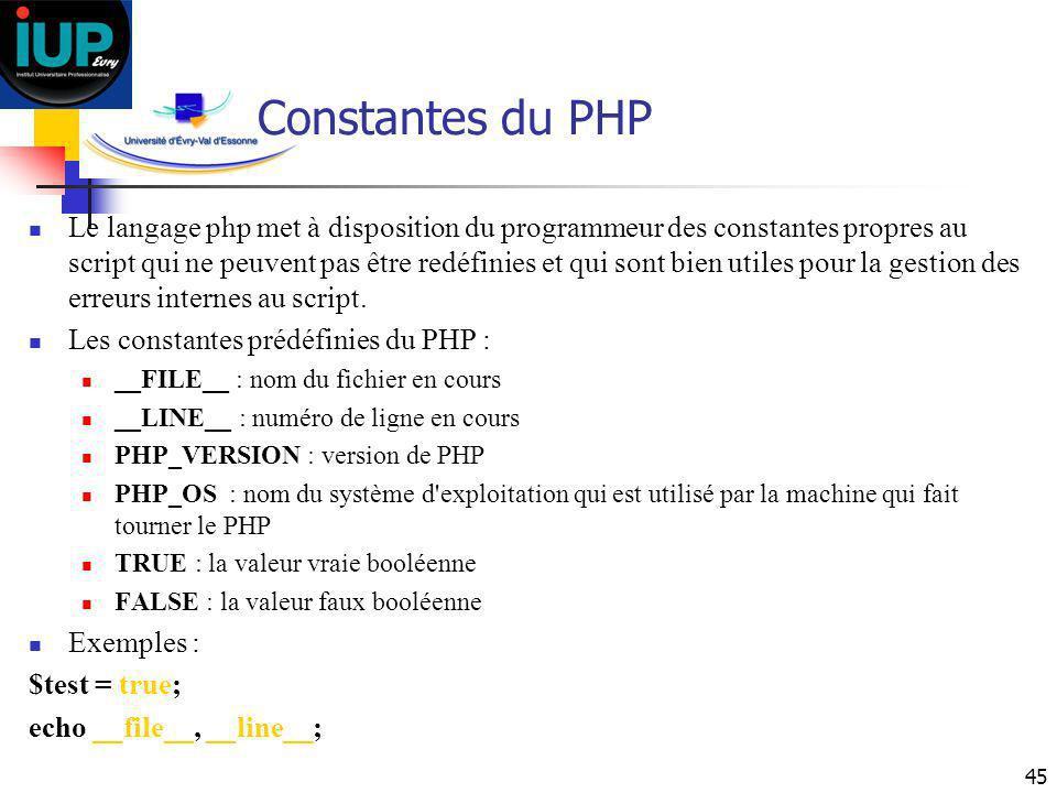 45 Constantes du PHP Le langage php met à disposition du programmeur des constantes propres au script qui ne peuvent pas être redéfinies et qui sont b