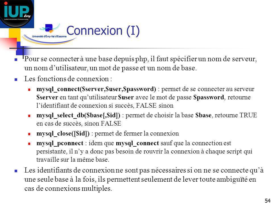 54 Connexion (I) Pour se connecter à une base depuis php, il faut spécifier un nom de serveur, un nom dutilisateur, un mot de passe et un nom de base.