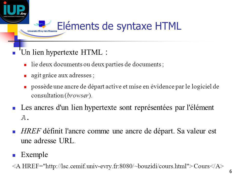 6 Eléments de syntaxe HTML Un lien hypertexte HTML : lie deux documents ou deux parties de documents ; agit grâce aux adresses ; possède une ancre de