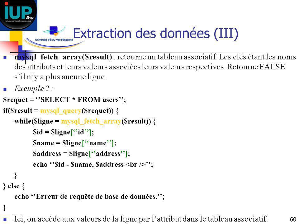 60 Extraction des données (III) mysql_fetch_array($result) : retourne un tableau associatif. Les clés étant les noms des attributs et leurs valeurs as