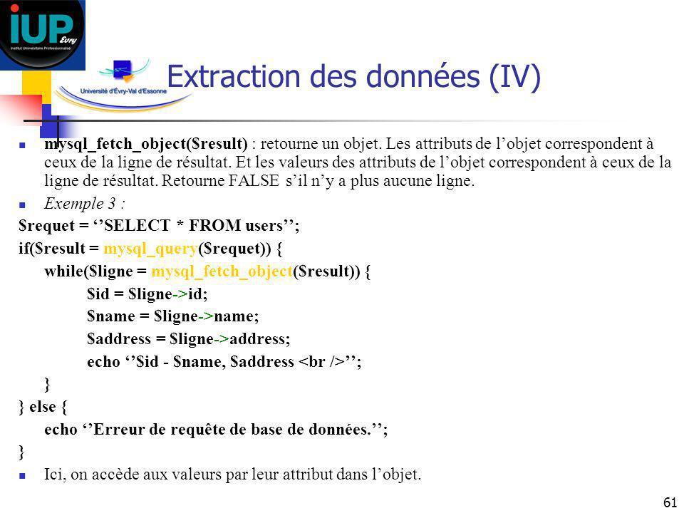 61 Extraction des données (IV) mysql_fetch_object($result) : retourne un objet. Les attributs de lobjet correspondent à ceux de la ligne de résultat.