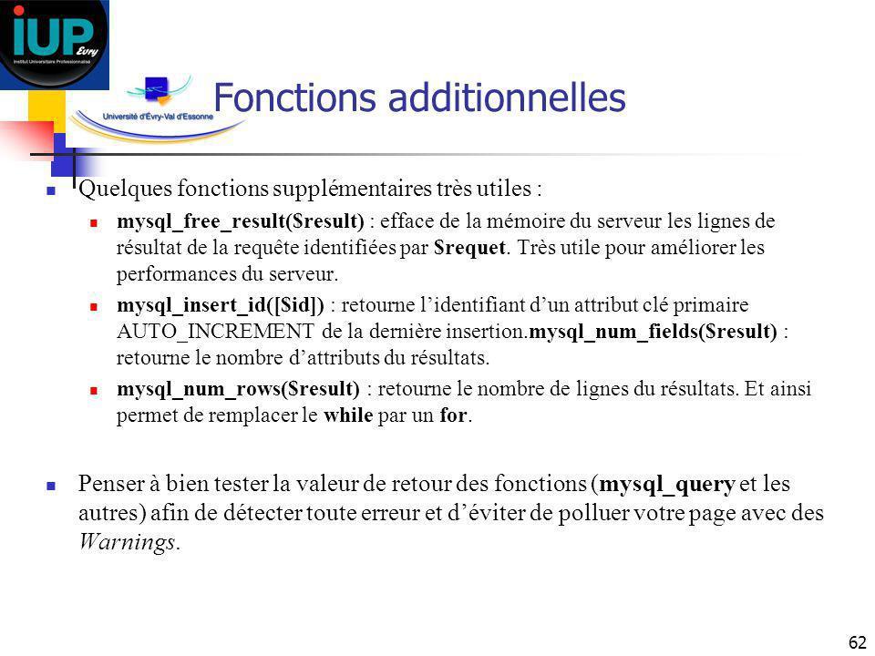 62 Fonctions additionnelles Quelques fonctions supplémentaires très utiles : mysql_free_result($result) : efface de la mémoire du serveur les lignes d