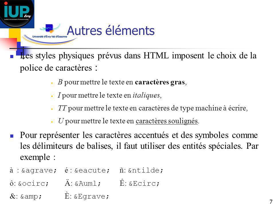 7 Autres éléments Les styles physiques prévus dans HTML imposent le choix de la police de caractères : B pour mettre le texte en caractères gras, I po
