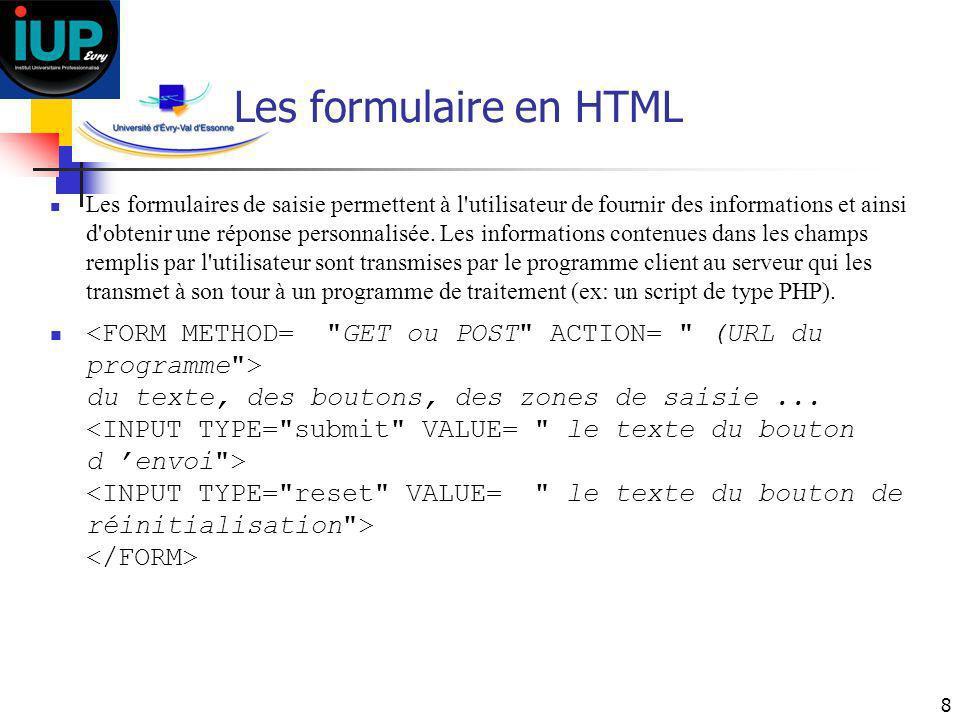 8 Les formulaire en HTML Les formulaires de saisie permettent à l'utilisateur de fournir des informations et ainsi d'obtenir une réponse personnalisée