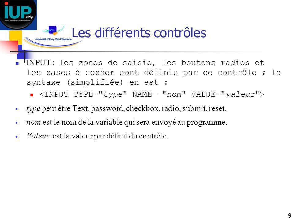 9 Les différents contrôles INPUT : les zones de saisie, les boutons radios et les cases à cocher sont définis par ce contrôle ; la syntaxe (simplifiée