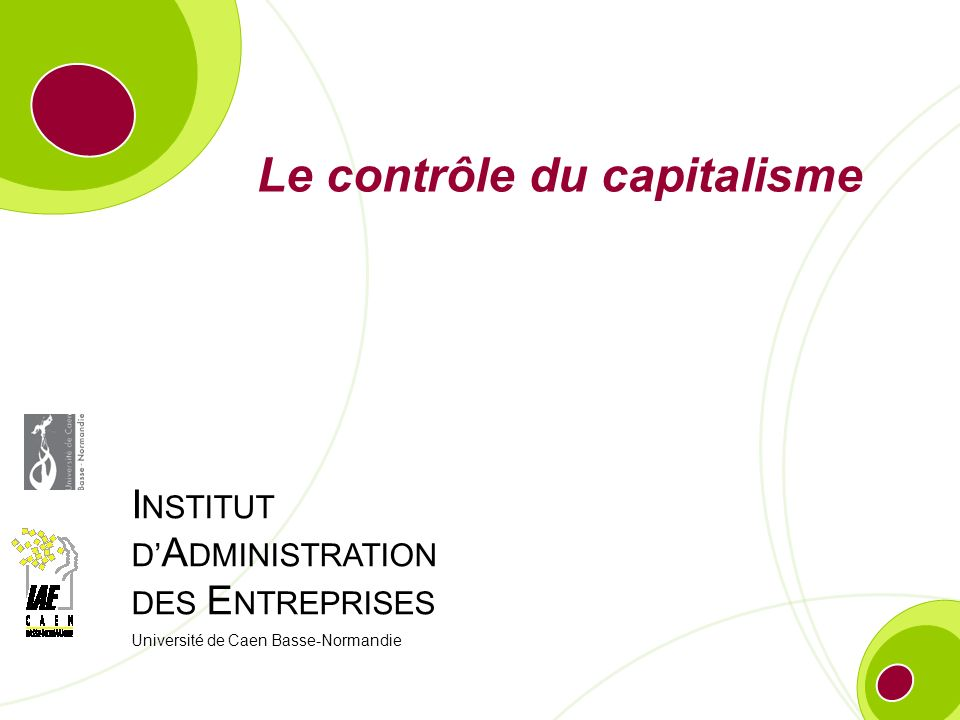 I NSTITUT D A DMINISTRATION DES E NTREPRISES Université de Caen Basse-Normandie Le contrôle du capitalisme