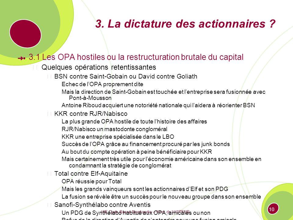 IAE Caen Basse-Normandie – Nom de lAUTEUR 10 3. La dictature des actionnaires ? 3.1 Les OPA hostiles ou la restructuration brutale du capital Quelques