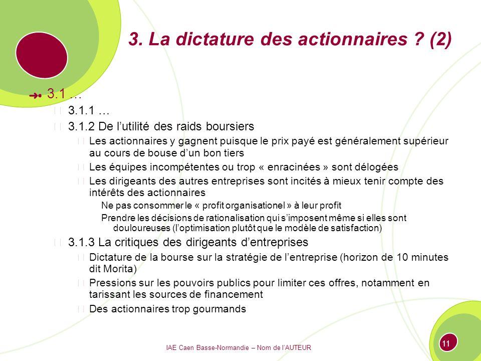 IAE Caen Basse-Normandie – Nom de lAUTEUR 11 3. La dictature des actionnaires ? (2) 3.1 … 3.1.1 … 3.1.2 De lutilité des raids boursiers Les actionnair
