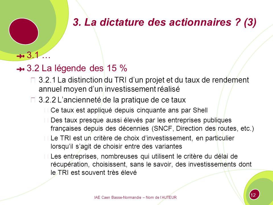 IAE Caen Basse-Normandie – Nom de lAUTEUR 12 3. La dictature des actionnaires ? (3) 3.1 … 3.2 La légende des 15 % 3.2.1 La distinction du TRI dun proj
