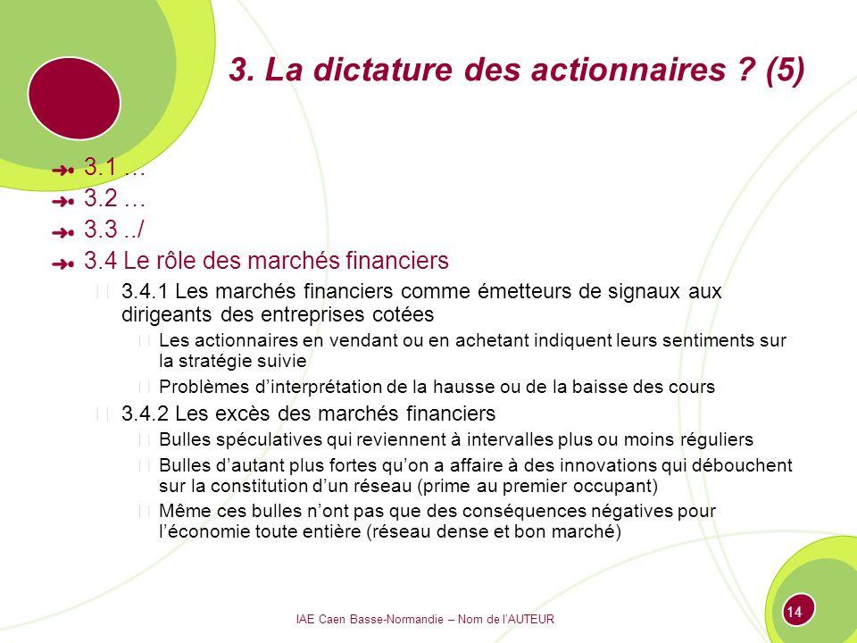 IAE Caen Basse-Normandie – Nom de lAUTEUR 14 3. La dictature des actionnaires ? (5) 3.1 … 3.2 … 3.3../ 3.4 Le rôle des marchés financiers 3.4.1 Les ma