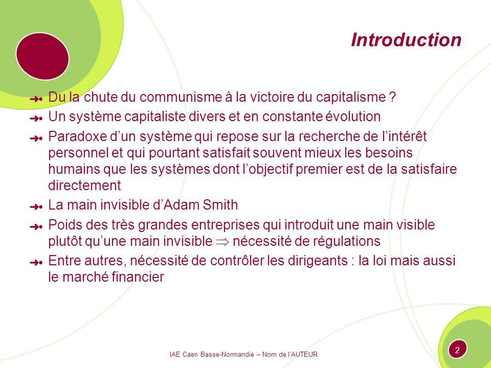 IAE Caen Basse-Normandie – Nom de lAUTEUR 2 Introduction Du la chute du communisme à la victoire du capitalisme ? Un système capitaliste divers et en