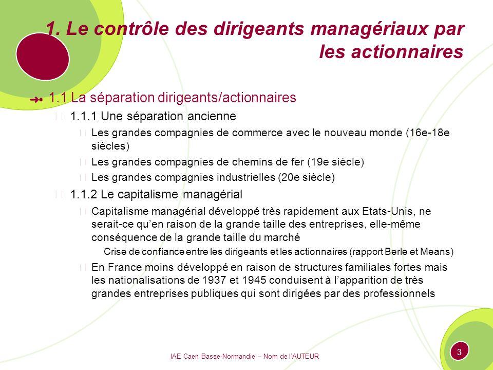 IAE Caen Basse-Normandie – Nom de lAUTEUR 3 1. Le contrôle des dirigeants managériaux par les actionnaires 1.1 La séparation dirigeants/actionnaires 1