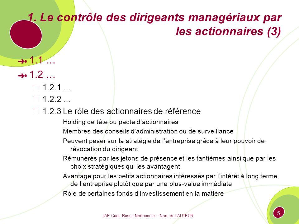 IAE Caen Basse-Normandie – Nom de lAUTEUR 5 1. Le contrôle des dirigeants managériaux par les actionnaires (3) 1.1 … 1.2 … 1.2.1 … 1.2.2 … 1.2.3 Le rô