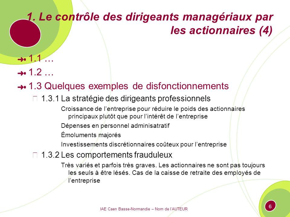 IAE Caen Basse-Normandie – Nom de lAUTEUR 6 1. Le contrôle des dirigeants managériaux par les actionnaires (4) 1.1 … 1.2 … 1.3 Quelques exemples de di