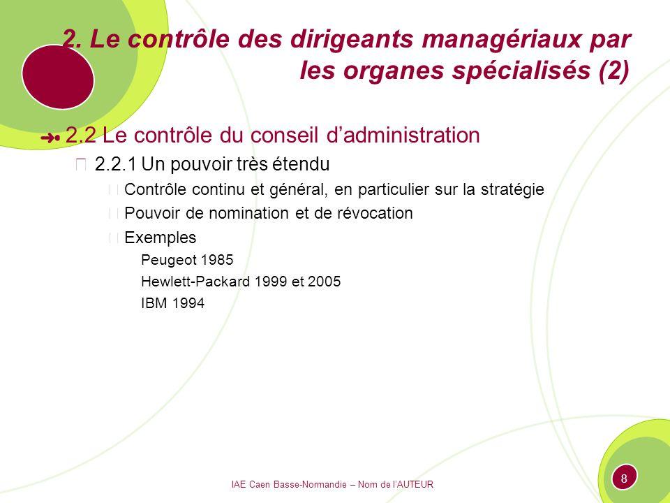 IAE Caen Basse-Normandie – Nom de lAUTEUR 8 2. Le contrôle des dirigeants managériaux par les organes spécialisés (2) 2.2 Le contrôle du conseil dadmi