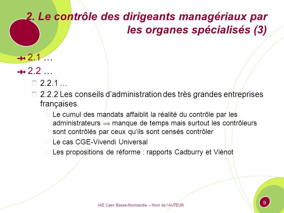 IAE Caen Basse-Normandie – Nom de lAUTEUR 9 2. Le contrôle des dirigeants managériaux par les organes spécialisés (3) 2.1 … 2.2 … 2.2.1 … 2.2.2 Les co