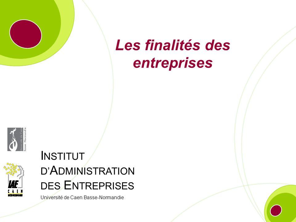 I NSTITUT D A DMINISTRATION DES E NTREPRISES Université de Caen Basse-Normandie Les finalités des entreprises