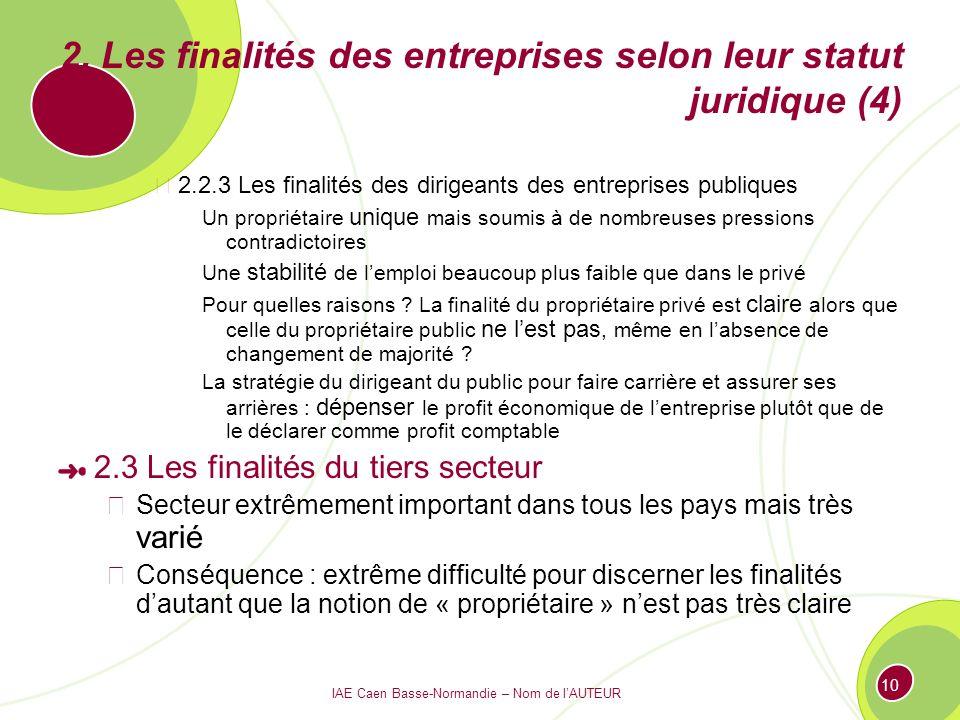 IAE Caen Basse-Normandie – Nom de lAUTEUR 10 2. Les finalités des entreprises selon leur statut juridique (4) 2.2.3 Les finalités des dirigeants des e