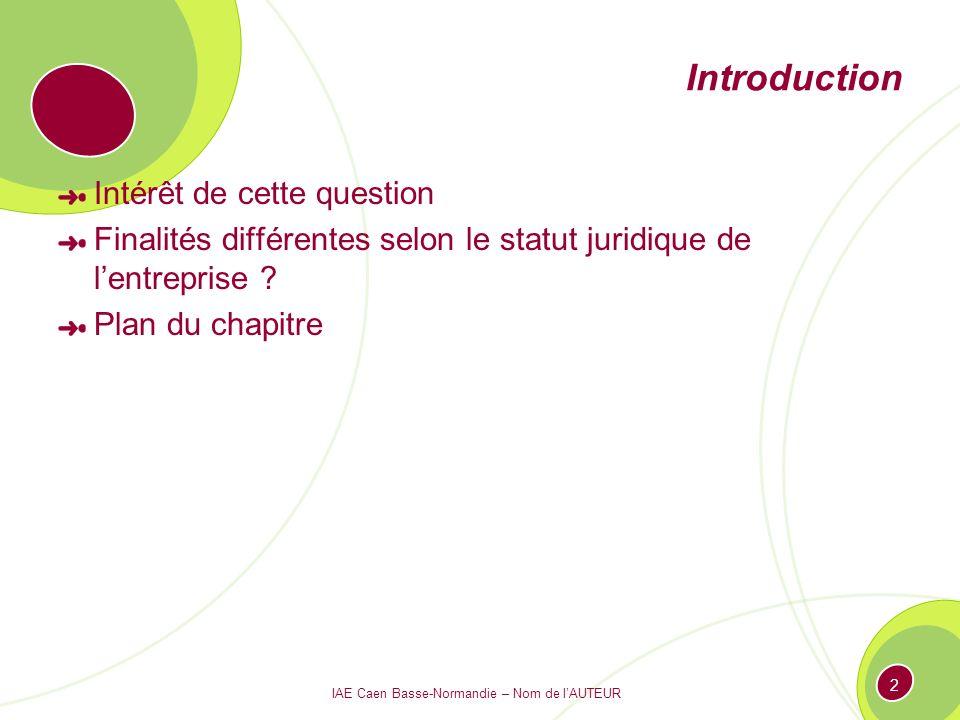 IAE Caen Basse-Normandie – Nom de lAUTEUR 2 Introduction Intérêt de cette question Finalités différentes selon le statut juridique de lentreprise ? Pl