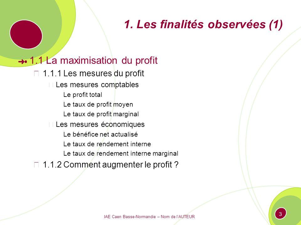 IAE Caen Basse-Normandie – Nom de lAUTEUR 3 1. Les finalités observées (1) 1.1 La maximisation du profit 1.1.1 Les mesures du profit Les mesures compt