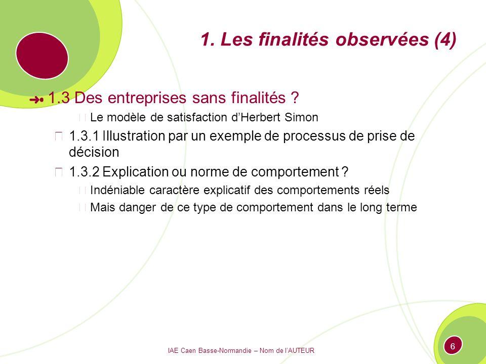 IAE Caen Basse-Normandie – Nom de lAUTEUR 6 1. Les finalités observées (4) 1.3 Des entreprises sans finalités ? Le modèle de satisfaction dHerbert Sim