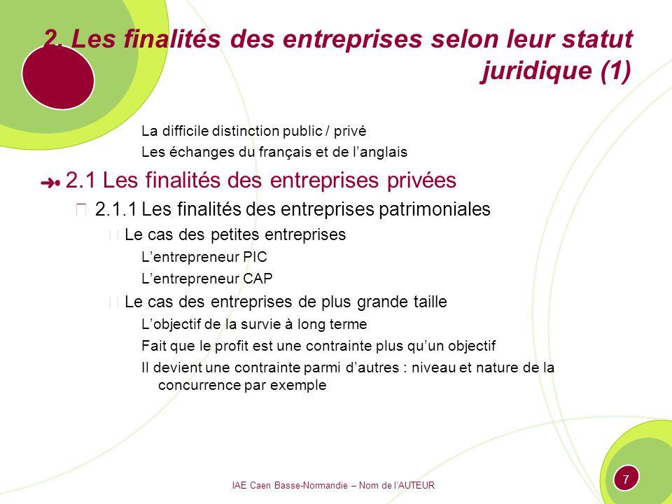 IAE Caen Basse-Normandie – Nom de lAUTEUR 7 2. Les finalités des entreprises selon leur statut juridique (1) La difficile distinction public / privé L