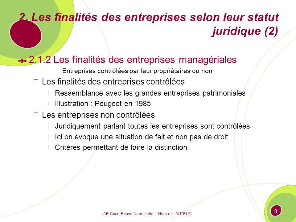 IAE Caen Basse-Normandie – Nom de lAUTEUR 8 2. Les finalités des entreprises selon leur statut juridique (2) 2.1.2 Les finalités des entreprises manag