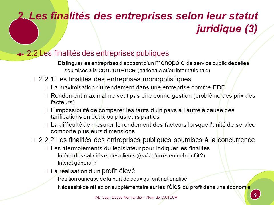 IAE Caen Basse-Normandie – Nom de lAUTEUR 9 2. Les finalités des entreprises selon leur statut juridique (3) 2.2 Les finalités des entreprises publiqu