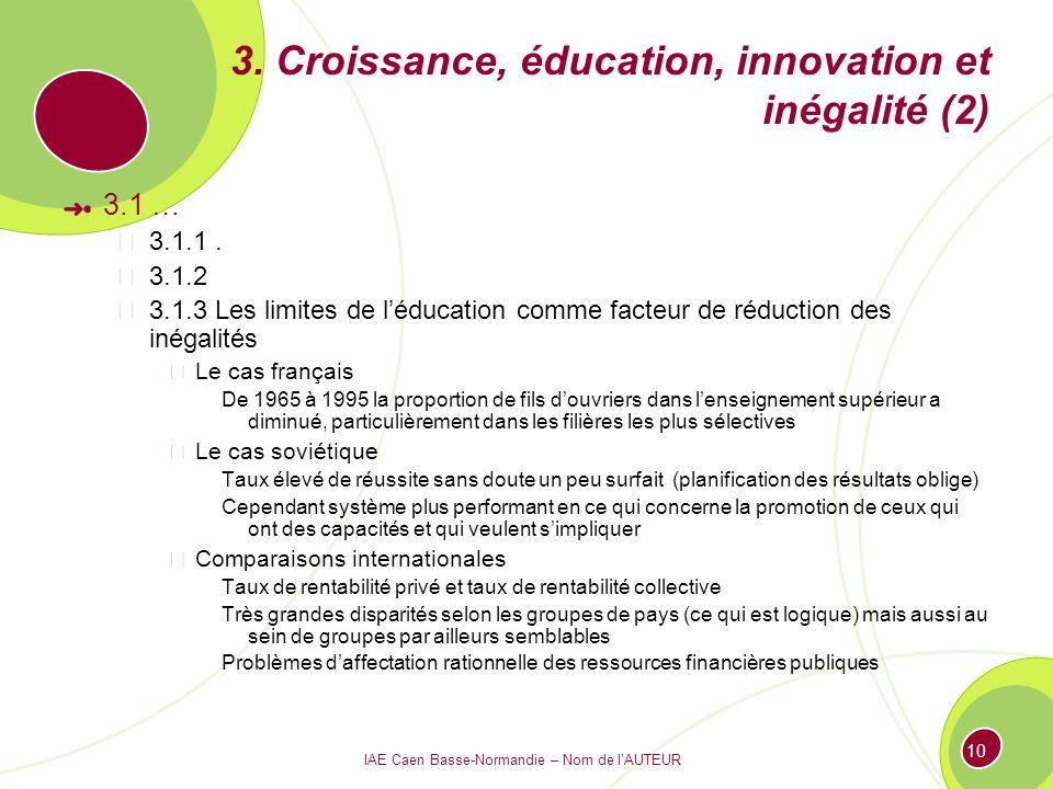 IAE Caen Basse-Normandie – Nom de lAUTEUR 10 3. Croissance, éducation, innovation et inégalité (2) 3.1 … 3.1.1. 3.1.2 3.1.3 Les limites de léducation