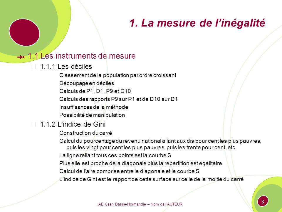 IAE Caen Basse-Normandie – Nom de lAUTEUR 3 1. La mesure de linégalité 1.1 Les instruments de mesure 1.1.1 Les déciles Classement de la population par