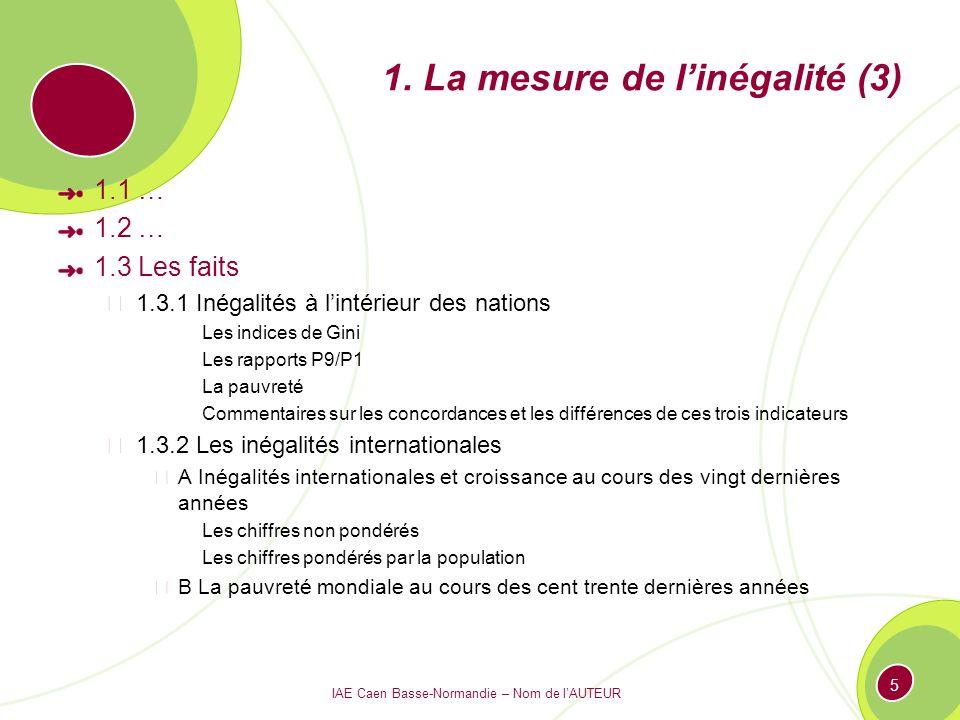 IAE Caen Basse-Normandie – Nom de lAUTEUR 5 1. La mesure de linégalité (3) 1.1 … 1.2 … 1.3 Les faits 1.3.1 Inégalités à lintérieur des nations Les ind